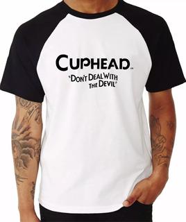 Camiseta Raglan Super Cuphead Mugman Jogo Xbox E