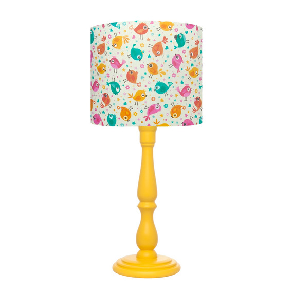 Luminária Abajur Infantil Menina Pássarinhos Coloridos Piu