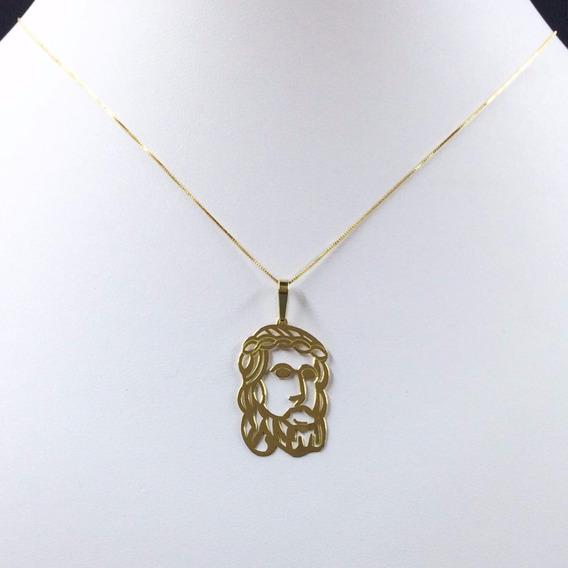 Gargantilha Ouro18k E Medalha Face De Cristo Vazada G