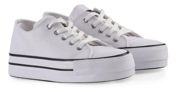 Zapatillas Blancas Verano Mujer De Lona -julia -
