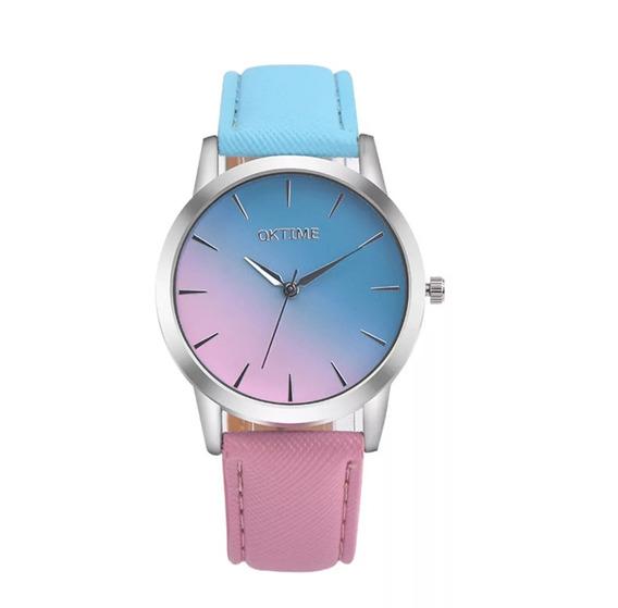 Relógio De Pulso Azul E Rosa - Envio Imediato