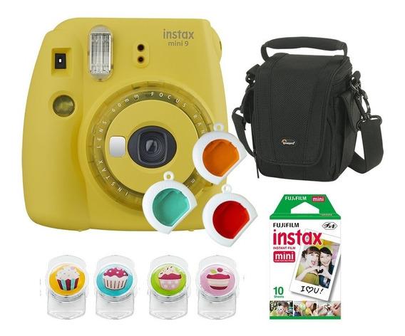 Câmera Fujifilm Instax Mini9 Amarelo Banana C/ 3 Filtros