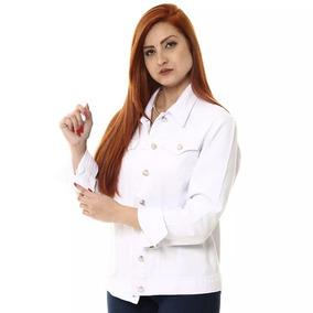 Jaqueta Jeans Sawary Feminina Branca Pronta Entrega