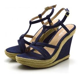 Sandália Anabela Salto Alto Em Tecido Jeans Azul Conforto