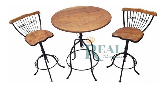 Conjunto Alta Cozinha 1 Mesa + 2 Cadeiras Ferro E Madeira