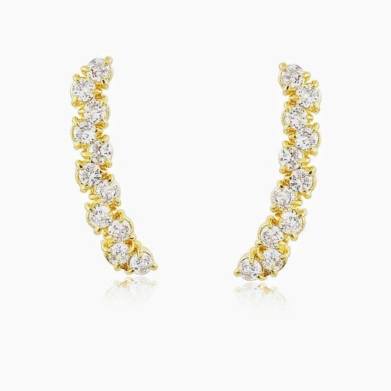 Brinco Ear Cuff Cristal Banho Ouro18k Delicado-luxo Garantia