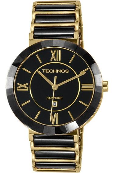 Relógio Technos Feminino Sapphire Preto E Dourado 2015bv/4p