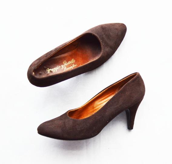 Zapatos Retro Gamuza Marrón Talle 36 Maggio Y Rossetto Impec