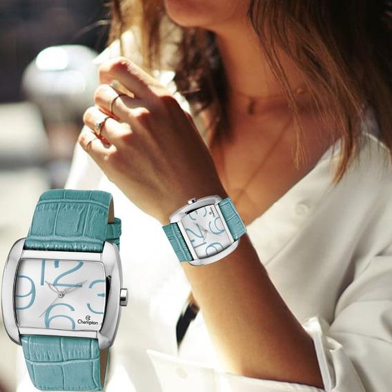 Relógio Feminino Champion Quadrado Prata Couro Azul Ch22591f