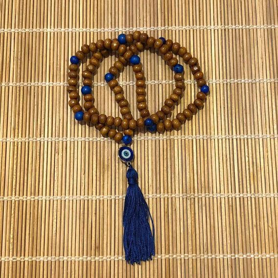 Japamala 108 Contas Madeira E Açai Olho Grego Terço Budismo