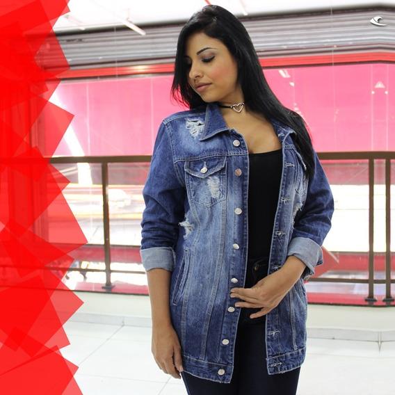 Jaqueta Jeans Plus Size Rasgada Roupas Femininas!