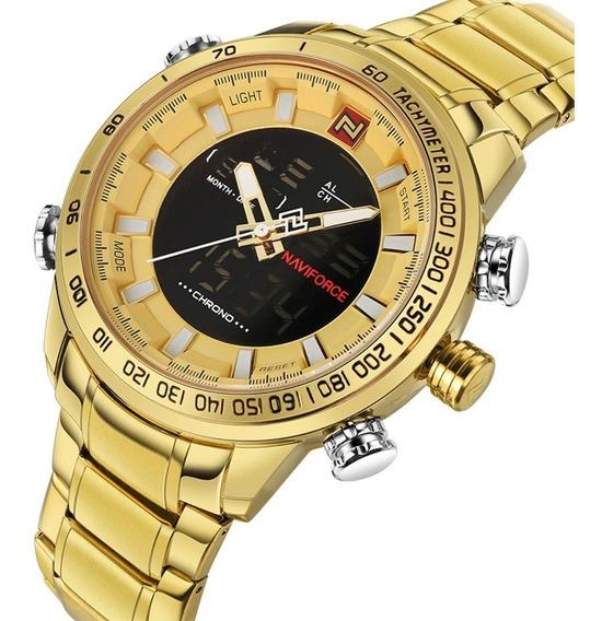 Relógio Masculino Naviforce 9093 Original Elegante Esportivo Militar Digital Analógico Aço Inoxidável