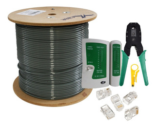Bobina Cable Utp Cat 5e 100m+100 Rj45+tester+pinzas Exterior