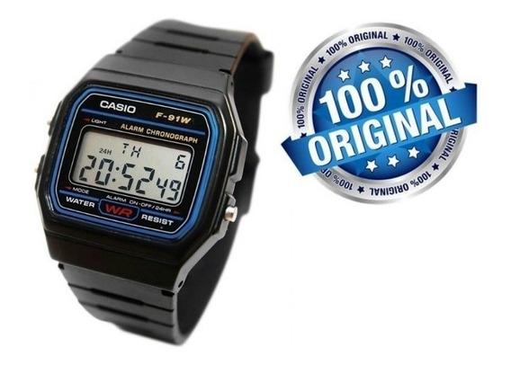 Relógio Masculino Casio 30m Digital Quartzo F91w-1 Original