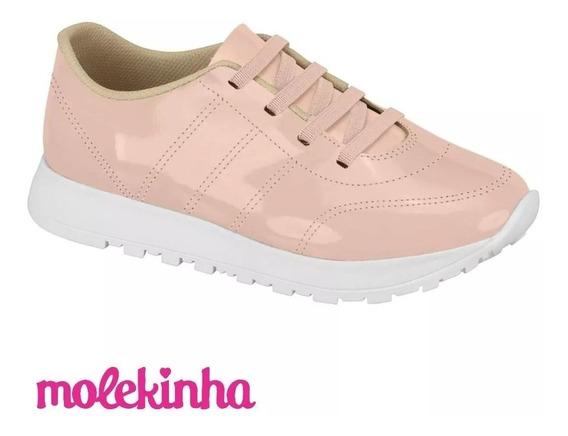 Tênis Infantil Menina Molekinha 2526103 Rosa Verniz Jogging