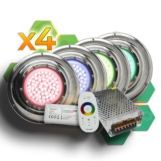 Kit Completo 4 Luces Led Rgb Para Piletas Piscinas 10x3