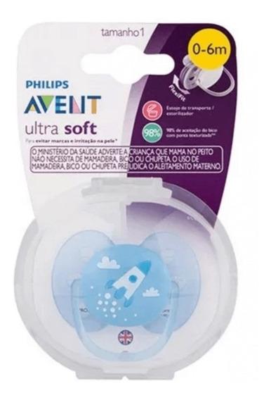 Chupeta Avent Ultra Soft Azul Decorada 0-6m Esterilizável