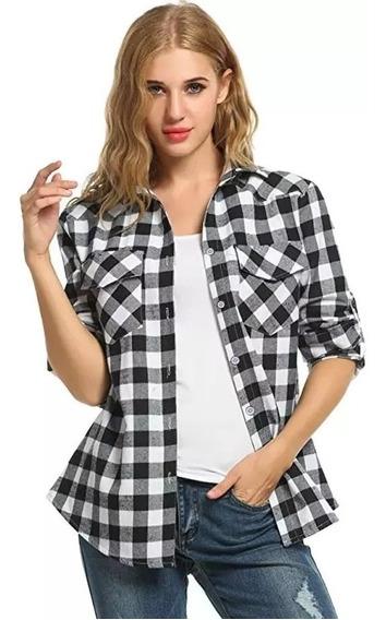 Pack X2 Camisas Dama Entallada Escosesa Calidad Premium
