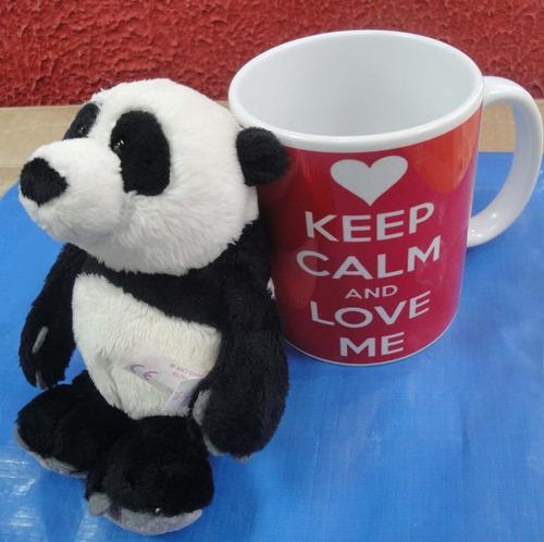 Caneca Panda + Ursinho Porcelana Alta Qualidade Casa Do Urso