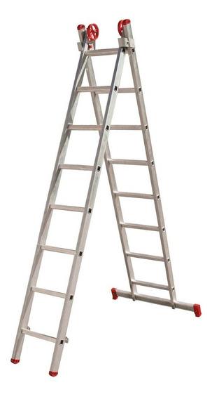 Escada Extensiva De Alumínio Dupla 8 X 2 Degraus - Botafogo