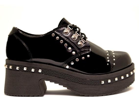Zapatos Abotinado Mujer Charol Negro Con Tachas Y Taco