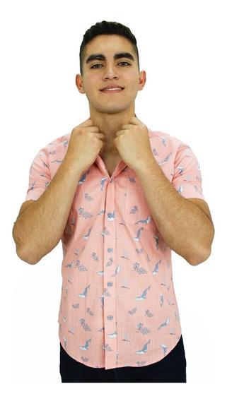 Camisa M/c Ballenas & Vino Rosa