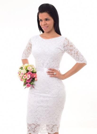 Vestido De Noiva Renda Festa Casamento Civil Manga + Brinde