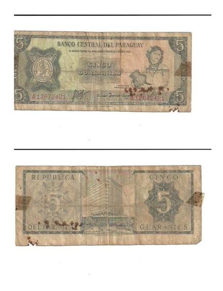 Billete 5 Guaranies - Paraguay - Año 1952
