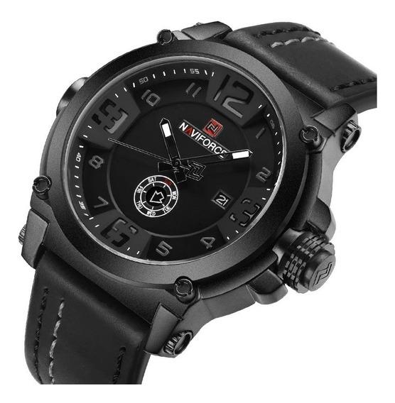 Relógio Masculino Naviforce Original Militar Couro + Brinde