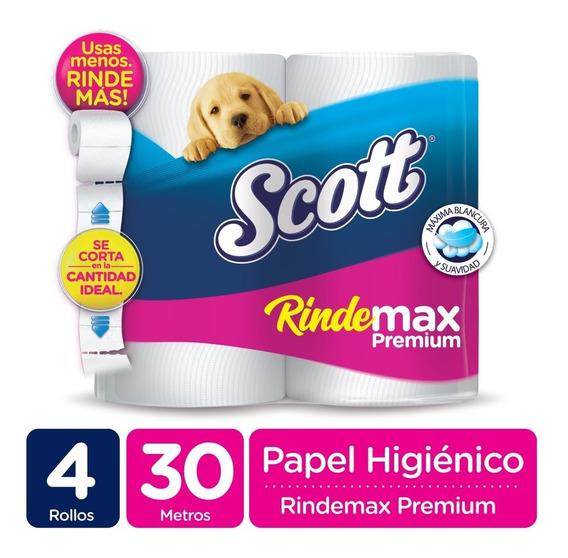 Papel Higienico Scott Rindemax Premium 30 Metros X 4 Rollos