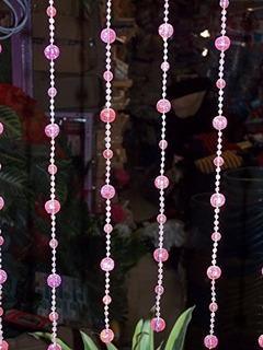 Cortina De Miçanga Rosa Cristal Acrilica Brilhante