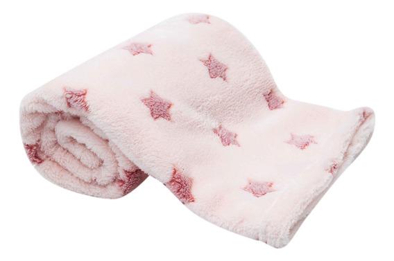 Cobertor Manta Rosa Estrelinhas Macio - Buba
