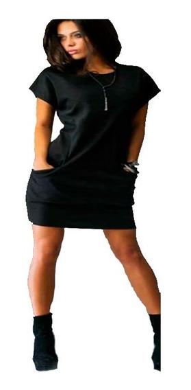 Mini Vestido De Bolsillo Casual Manga Corta Cuello Redondo 5142