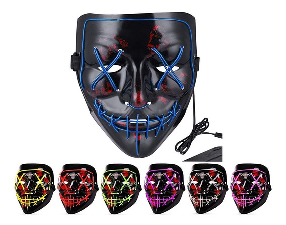 Máscara Luz Led La Purga Halloween Cálida Decoración Fiesta