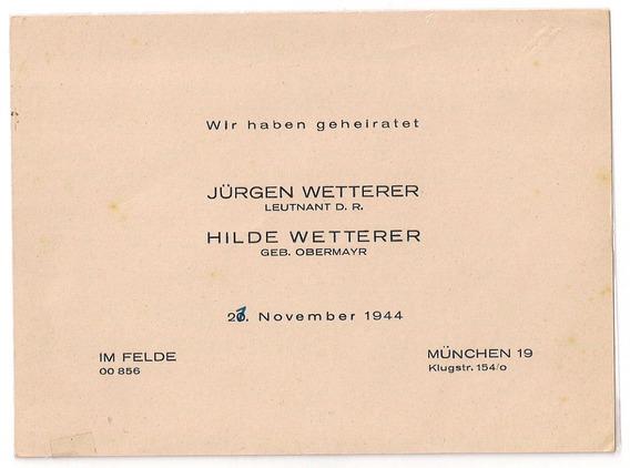 Alemania 2º Guerra Tarjeta Participación De Casamiento 1944