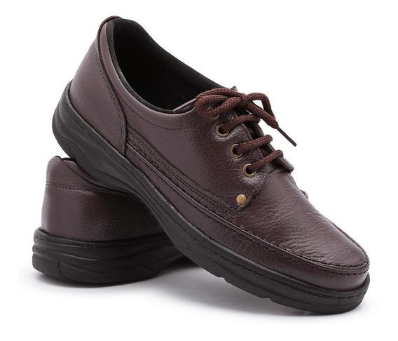 Sapato Masculino Ortopédico Antistress Dores Couro Confort
