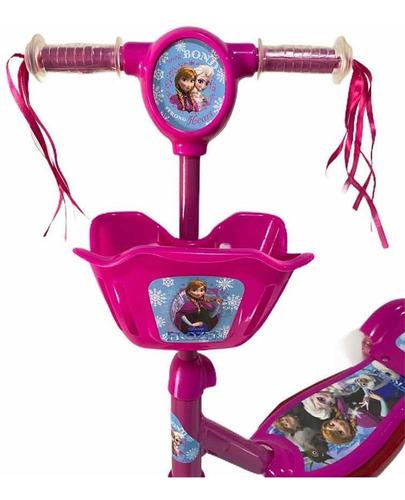 Patinete Infantil Musical Frozen Com Cesta + Brinde