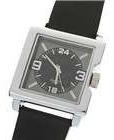 Relógio De Pulso Preto Black Couro Aço Cromado