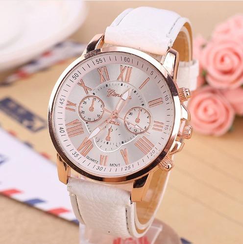 Relógio Luxo Quartzo Feminino Em Couro
