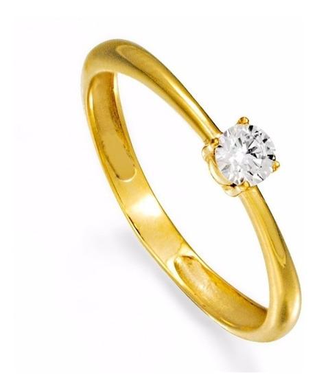 Anel Noivado Solitário Ouro 18k Com Safira Branca De 3,5mm
