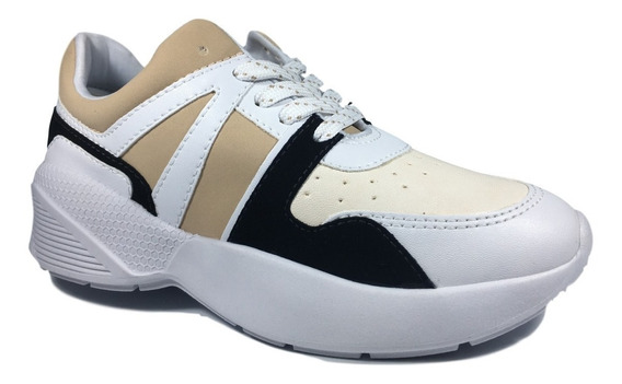 Tênis Feminino Ramarim Sneaker Nobuck Branco E Bege Alto Lev