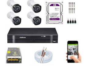 Kit Cftv 4 Câmeras, Dvr 4 Canais Intelbras 1004 E Hd Purple