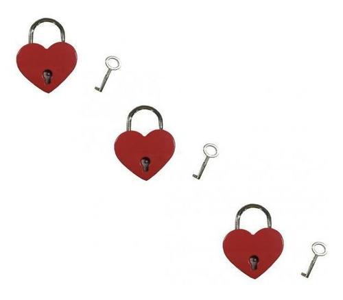 Imagen 1 de 6 de Corazón Mini Candado De La Vendimia Roja En Forma De