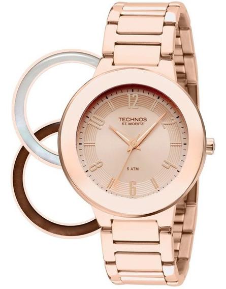 Relógio Technos Feminino Rose Gold Troca Aros 2035loa4t