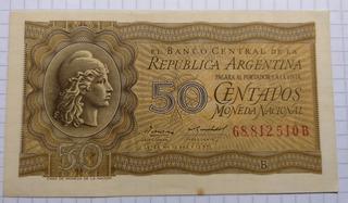 Billete De 50 Centavos Moneda Nacional 1956 - Excelente