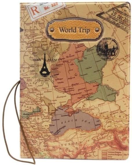 Capa Para Passaporte De Pvc Mapa Mundi Charmoso World Trip @