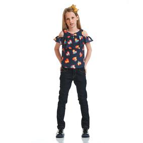 Blusa Acostamento Infantil Fashion Floating Hearts Marinho