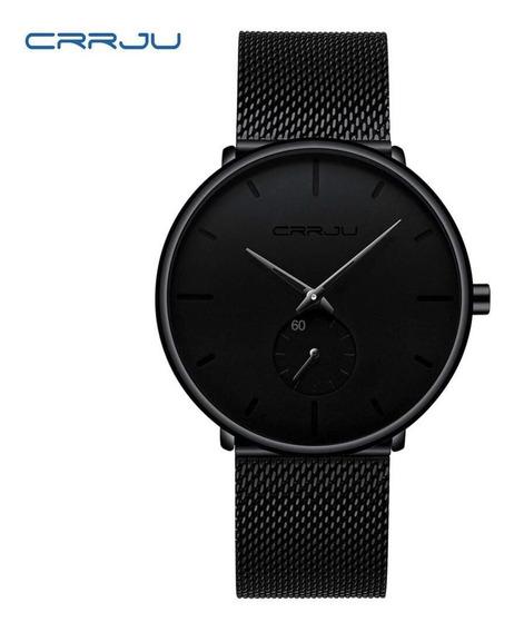 Relógio Masculino Com Pulseira Preta Resistente À Água Crrju