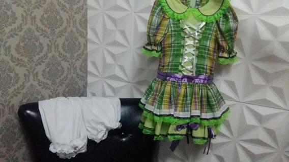 Vestido Festa Junina Verde E Roxo