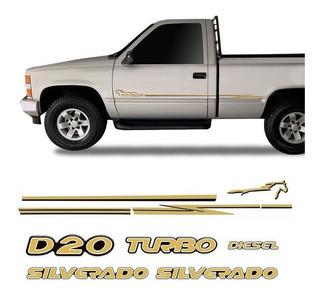 Adesivos Silverado D20 2000/2001 Faixa Lateral + Emblemas